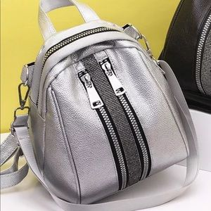 Silver backpack.
